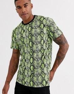Неоновая футболка со змеиным принтом Only & Sons-Черный