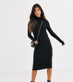Черное трикотажное платье миди с высоким воротником Vero Moda Petite - Aware-Черный