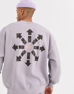 Лавандовый свитшот с принтом на спине Topman-Фиолетовый