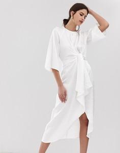 Белое платье миди с цветочным принтом Y.A.S-Белый