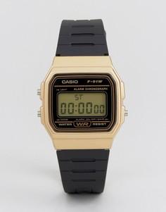 Черно-золотистые цифровые часы с силиконовым ремешком Casio F91WM-9A-Черный