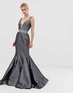 Структурированное платье макси с годе Jovani-Серый