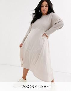 Трикотажное платье миди ASOS DESIGN Curve-Кремовый