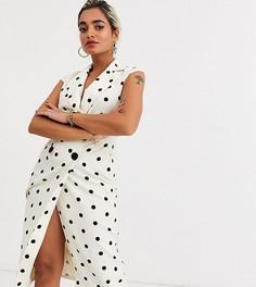 Платье миди в горошек с запахом ASOS DESIGN Petite-Мульти