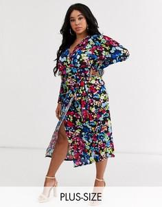 Атласная юбка миди с запахом и цветочным принтом Never Fully Dressed Plus-Мульти