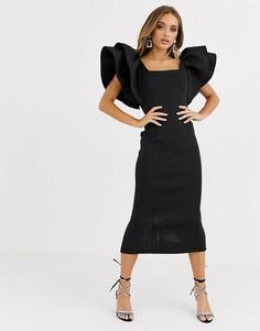 Черное платье миди с квадратным вырезом и отделкой Missguided-Черный