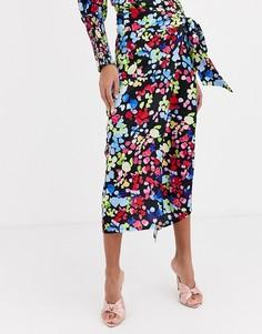 Неоновая атласная юбка миди с цветочным принтом и запахом Never Fully Dressed-Кремовый