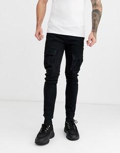 Черные джинсовые джоггеры карго Topman-Черный