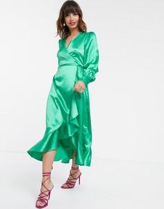 Атласное платье миди с запахом Pretty Lavish-Зеленый