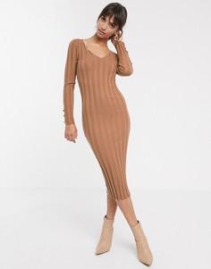 Платье миди в рубчик с V-образным вырезом ASOS DESIGN-Светло-бежевый