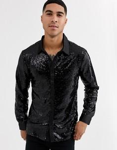 Вечерняя рубашка с пайетками Aray-Черный