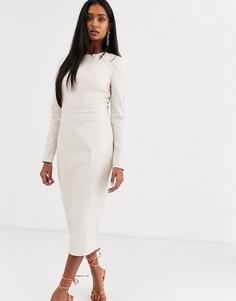 Платье-футляр миди с длинными рукавами из искусственной кожи ASOS DESIGN-Кремовый