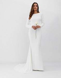 Свадебное креповое платье с годе и низким вырезом на спине Club L-Белый
