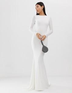 Белое платье макси с годе Club L London-Белый