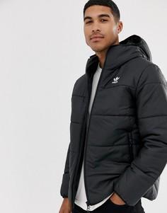 Черная дутая куртка с логотипом adidas Originals-Черный