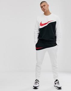 Джоггеры с манжетами и логотипом-галочкой Nike-Черный