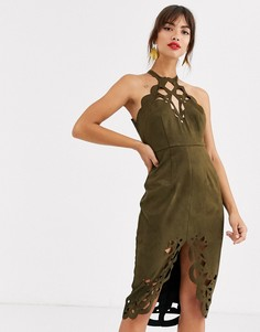 Платье миди из искусственной замши с резной отделкой ASOS DESIGN-Зеленый