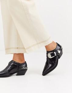 Черные кожаные туфли в ковбойском стиле ASOS DESIGN - Mirror-Черный