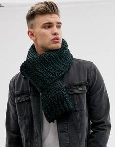 Черно-зеленый вязаный шарф ASOS DESIGN
