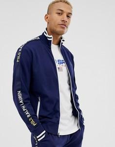 Темно-синяя спортивная куртка с лентами и логотипом Polo Ralph Lauren-Темно-синий