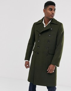 Куртка в стиле милитари из высококачественной ткани с добавлением шерсти и с большим воротником Devils Advocate-Зеленый