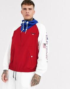 Нейлоновая куртка красного/белого/синего цвета с рукавами реглан и капюшоном Ralph Lauren Sport Capsule-Красный