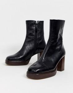 Черные кожаные премиум-ботинки на платформе ASOS DESIGN - Reunion-Черный