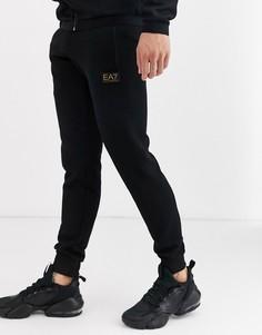 Черные узкие джоггеры из пике с золотистым логотипом Armani EA7-Черный