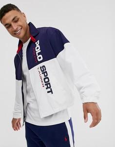 Сине-белая спортивная нейлоновая куртка на молнии Ralph Lauren Sport Capsule-Темно-синий