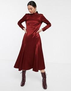 Платье макси с воротником и вставками годе ASOS WHITE-Мульти
