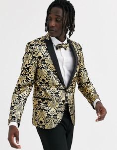 Супероблегающий бархатный пиджак с золотистым рисунком Twisted Tailor-Золотой