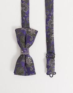 Фиолетовый галстук-бабочка с цветочным принтом пейсли Twisted Tailor