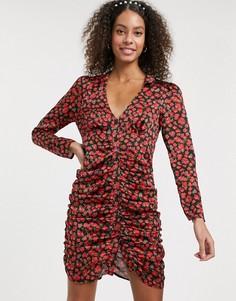 Атласное платье мини на пуговицах с цветочным принтом и сборками ASOS DESIGN-Мульти
