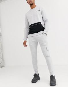 Серые меланжевые облегающие джоггеры от комплекта ASOS DESIGN-Серый