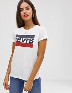 Футболка с логотипом в винтажном стиле Levis-Белый