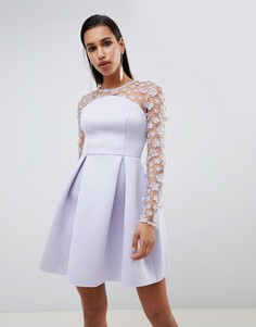 Платье мини бандо для выпускного с цветочным кружевом ASOS DESIGN-Фиолетовый