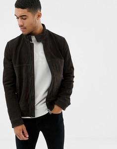 Черная кожаная куртка с перфорацией BOSS-Коричневый