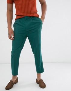 Суженные книзу строгие укороченные брюки темного сине-зеленого цвета ASOS DESIGN-Синий
