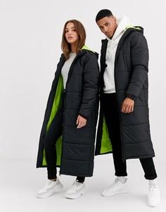 Черная удлиненная дутая куртка унисекс с неоновой подкладкой Another Influence-Черный