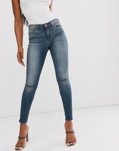 Выбеленные темные джинсы скинни с классической талией и рваной отделкой ASOS DESIGN Lisbon-Синий