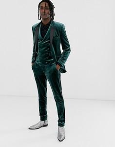 Зеленые бархатные супероблегающие брюки под смокинг ASOS DESIGN-Зеленый