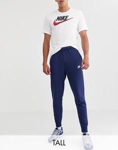 Темно-синие джоггеры с манжетами Nike Tall Club-Темно-синий
