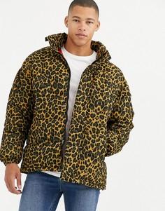 Дутая куртка с леопардовым принтом и скрытым капюшоном золотистого цвета Schott - Nebraska-Золотой