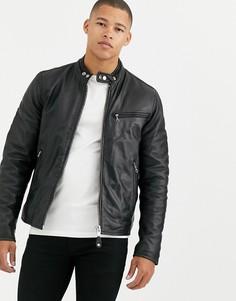 Черная кожаная байкерская куртка узкого кроя Schott - LC94D-Черный