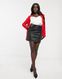 Черная мини-юбка из полиуретана с запахом спереди и отделкой заклепками Morgan-Черный