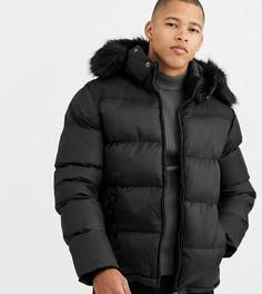 Черная дутая куртка с отстегиваемым капюшоном и отделкой из искусственного меха Schott эксклюзивно для Asos 2190-Черный