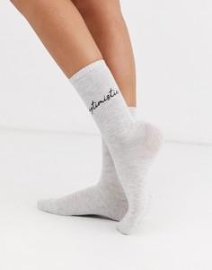 Серые носки Womensecret Optimistic-Серый Womensecret