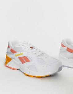 Бело-коралловые кроссовки Reebok Aztrek-Белый