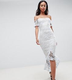 Кружевное платье миди с широким вырезом и годе Missguided Tall-Синий