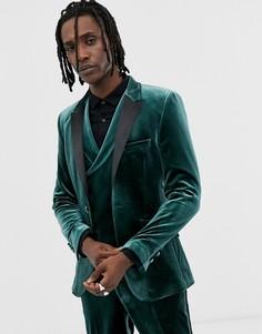 Зеленый бархатный супероблегающий пиджак-смокинг ASOS DESIGN